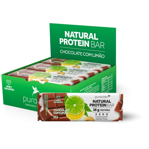 Natural Protein Bar Sabor Chocolate com Limão (Cx c/ 12 Unidades de 60g) - Pura Vida