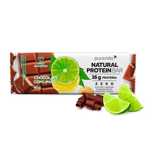 Natural Protein Bar Sabor Chocolate com limão (1 Unidade de 60g) - Pura Vida