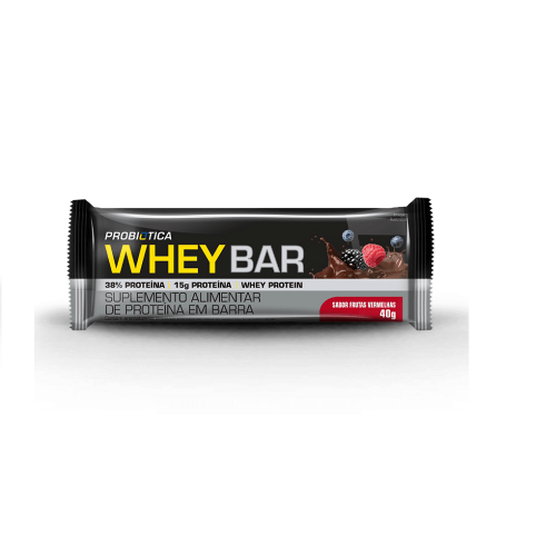 Whey Bar Sabor Frutas Vermelhas (1 Unidade de 40g) - Probiótica