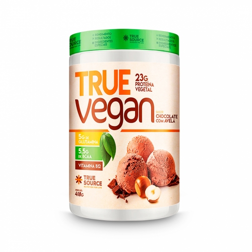 True Vegan sabor Chocolate c/ Avelã (418g) - True Source