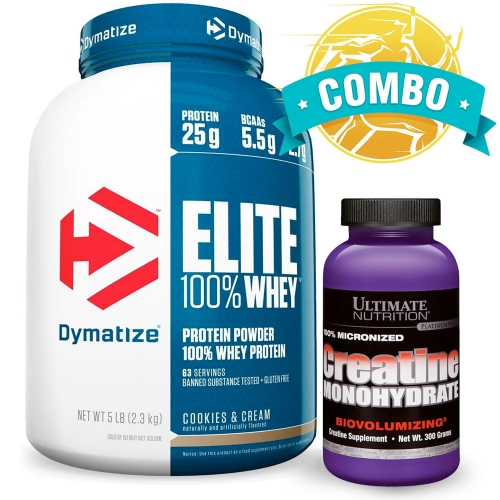 Combo: Elite Whey Protein (2,3kg) Sabor Chocolate - Dymatize + Creatina (300g) - Ultimate Nutrition