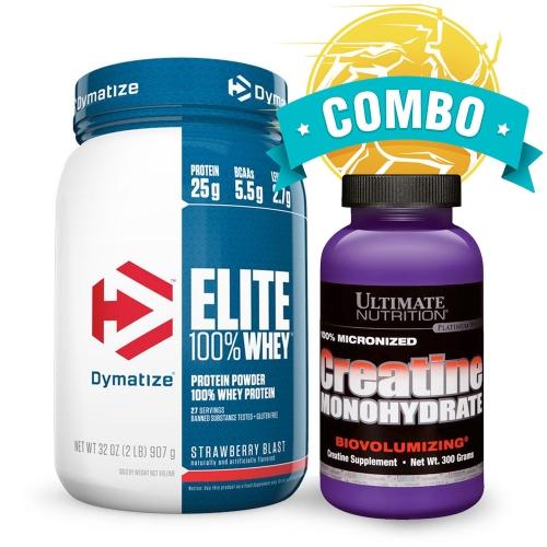 Combo Verão 2020: Elite Whey Protein (907g) Sabor Cookies - Dymatize + Creatina (300g) - Ultimate Nutrition