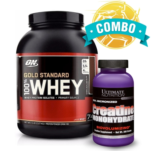 Combo Verão 2020 Gold: 100% Whey Protein Gold Standard Sabor Chocolate c/ coco (2,270Kg) Optimum Nutrition + Creatina 300g Ultimate Nutrition