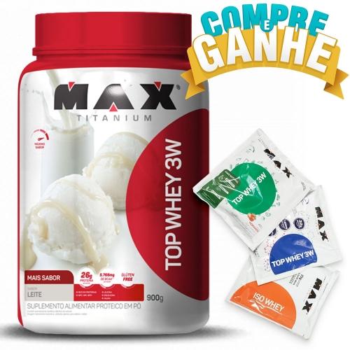Compre Top Whey 3W Mais Sabor Leite (900g) - Max Titanium e Ganhe 3 amostras