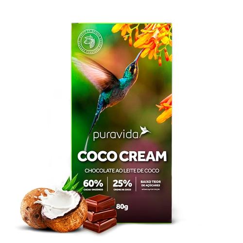 Chocolate Orgânico Premium Coco Cream (80g) - PuraVida