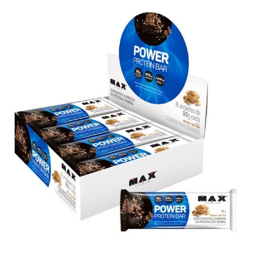 Power Protein Bar Sabor Peanut Butter (Caixa com 8 Unidades de 90g) - Max Titanium