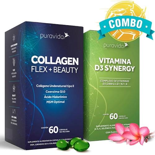 Combo Collagen Flex + Beauty (60 Cápsulas) + Vitamina D3 Synergy (60 Cápsulas) - Pura Vida