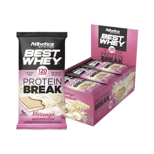 Best Whey Protein Break sabor Morango (Cx. 12 unidades de 25g) - Atlhetica Nutrition