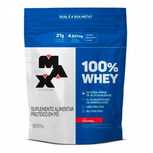 100% Whey Protein Refil Sabor Morango (900g) - Max Titanium