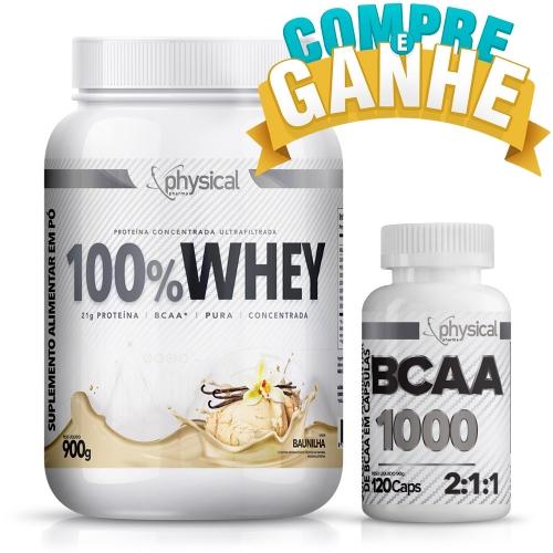 Compre 100% Whey Sabor Baunilha (900g) e Ganhe BCAA 1000 - 500mg (120 Cápsulas) - Physical Pharma