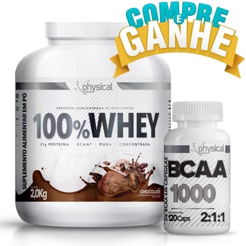 Compre 100% Whey Sabor Chocolate (2kg) e Ganhe BCAA 1000 - 500mg (120 Cápsulas) - Physical Pharma