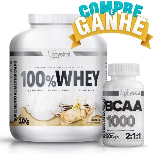 Compre 100% Whey Sabor Baunilha (2kg) e Ganhe BCAA 1000 - 500mg (120 Cápsulas) - Physical Pharma