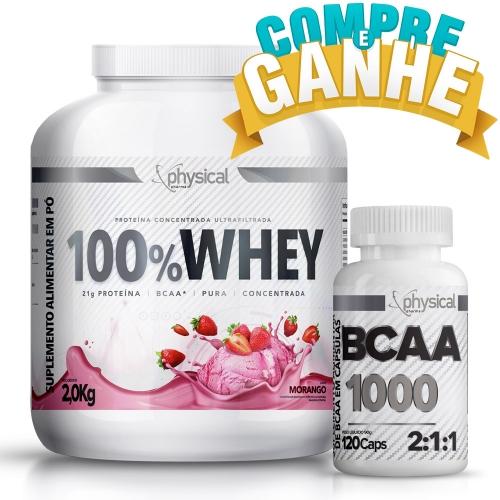 Compre 100% Whey Sabor Morango (2kg) e Ganhe BCAA 1000 - 500mg (120 Cápsulas) - Physical Pharma