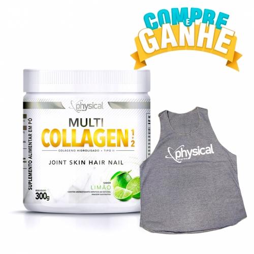 Compre Multi Collagen 1+2 Sabor Limão (300g) - Physical Pharma e Ganhe Regata Feminina Cinza M - Physical Pharma