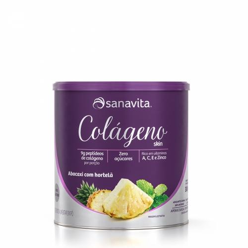 Colágeno Skin Sabor Abacaxi com Hortelã (300g) - Sanavita