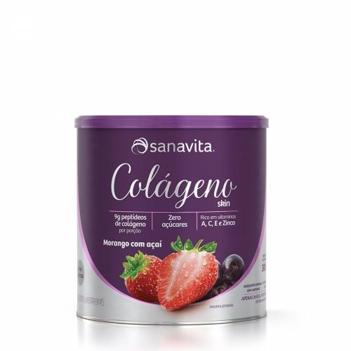 Colágeno Skin Sabor Morango com Açaí (300g) - Sanavita
