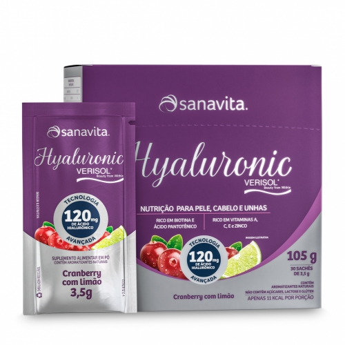 Hyaluronic Verisol Sabor Cranberry com Limão (Cx c/ 30 Sachês de 3,5g) - Sanavita