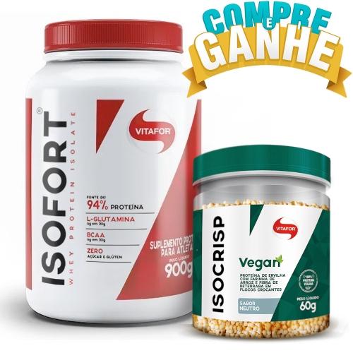 Compre Isofort (Whey Protein Isolate) - Chocolate (900g) e Ganhe Isocrisp Vegan (60g) - Vitafor