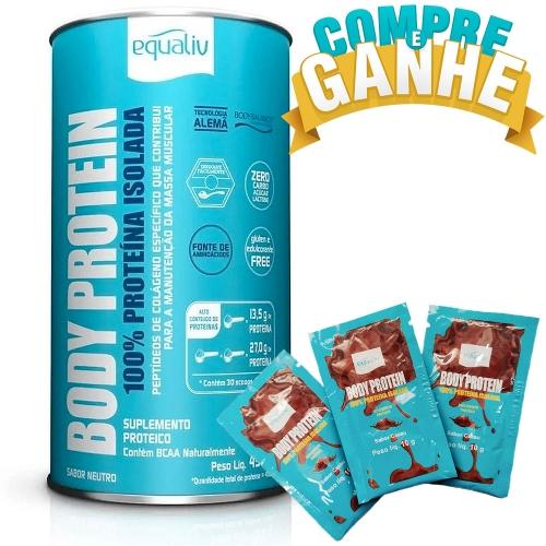 Compre Body Protein Sabor Neutro (450g)  e Ganhe 3 Sachês de Body Protein Cacau - Equaliv