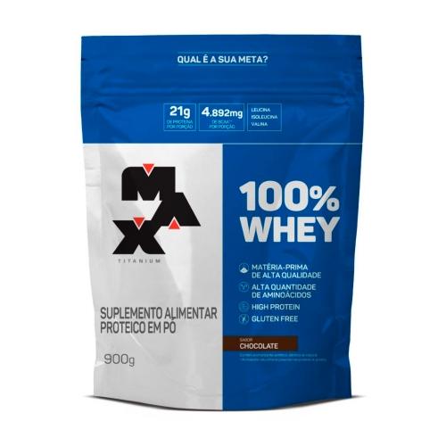 100% Whey Protein Refil Sabor Chocolate (900g) - Max Titanium