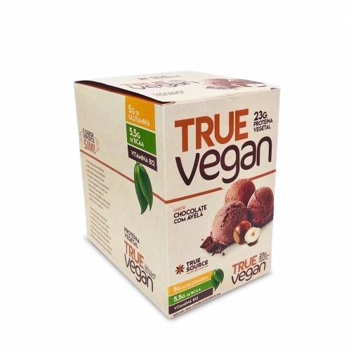 True Vegan sabor Chocolate c/ Avelã (1 Cx. com 10 saches de 34g) - True Source