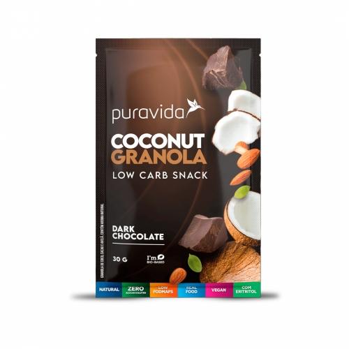 Coconut Granola Sabor Dark Chocolate (30g) - Pura Vida