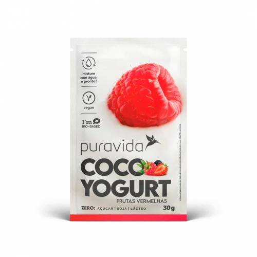 Coco Yogurt Frutas Vermelhas (1 cx com 10 Sachês de 30g) - Pura Vida