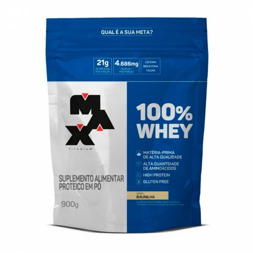 100% Whey Protein Refil Sabor Baunilha (900g) - Max Titanium