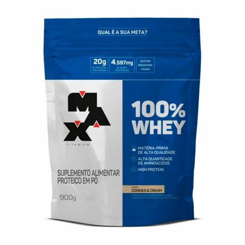 100% Whey Protein Refil Sabor Cookies and Cream (900g) - Max Titanium