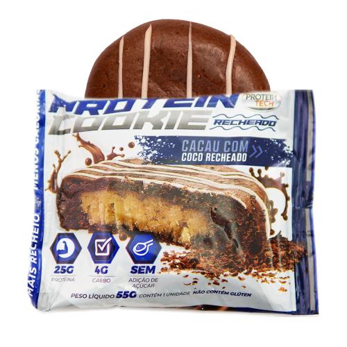 Protein Cookie Sabor Cacau com Coco Trufado (Caixa com 12 unidades de 55g) - Protein Tech