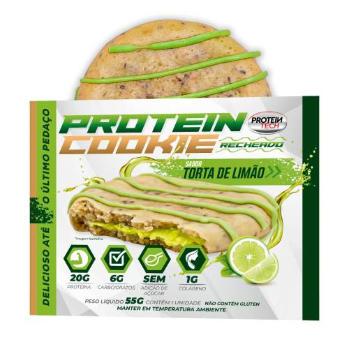 Protein Cookie Sabor Torta de Limão (Caixa com 12 unidades de 55g) - Protein Tech