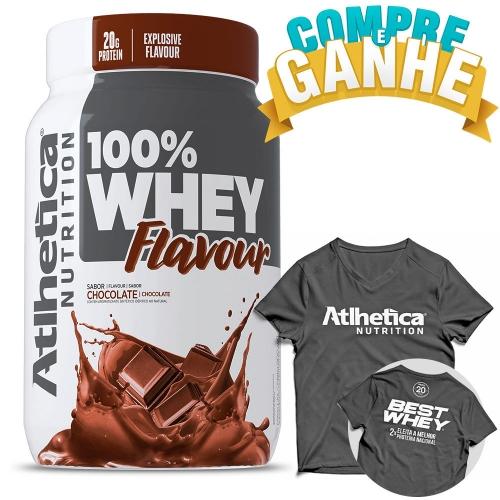 Compre 100% Whey Flavour Sabor Chocolate (900g) e Ganhe Camiseta - Atlhetica Nutrition