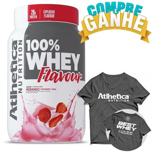 Compre 100% Whey Flavour Sabor Morango (900g) e Ganhe Camiseta - Atlhetica Nutrition