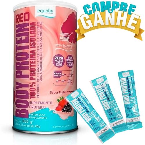 Compre Body Protein Red Sabor Frutas Vermelhas (600g) e Ganhe 3 Stickers de Body Protein Neutro - Equaliv