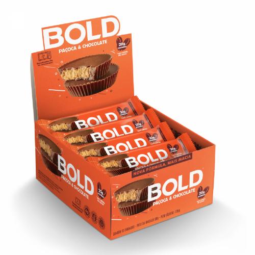 Bold Bar Sabor Paçoca e Chocolate  (Caixa 12 Unidades de 60g) - Bold Snacks