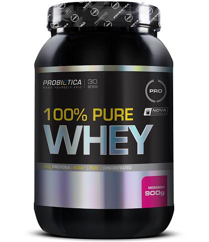 100% Pure Whey Protein Probiótica Morango - 900g