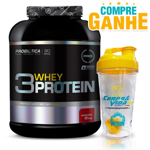 3 Whey Protein Chocolate Probiótica - 2 Kg + 1 Coqueteleira Corpo & Vida 15 anos 500ml
