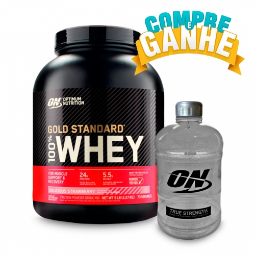 Compre 100% Whey Protein Gold Standard Sabor Morango (2.270g) - Optimum Nutrition e Ganhe Galão (1,1 Litros) - Optimum