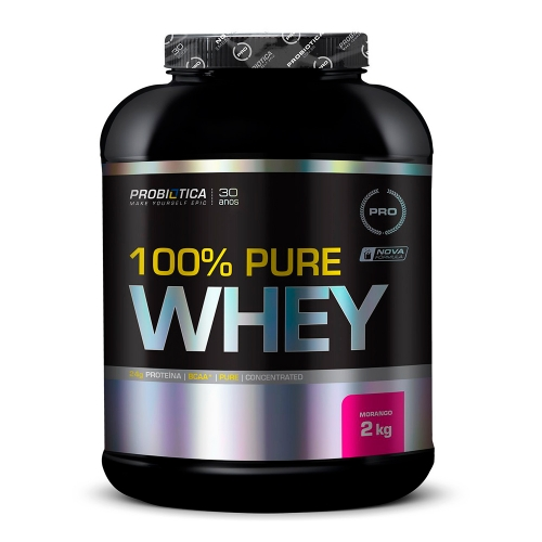 100% Pure Whey Protein Probiótica Morango - 2Kg