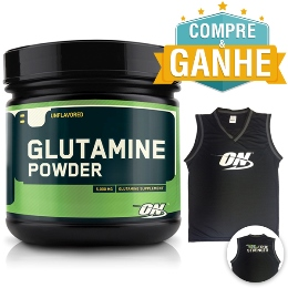 Glutamina em Pó Optimum Nutrition / Glutamine Powder - Optimum Nutrition - 600g (Validade 12/2016) + 1 Regata ON