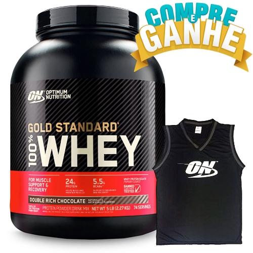 Compre 100% Whey Protein Gold Standard Sabor Chocolate (2.270g) e Ganhe Regata Machão - Optimum Nutrition