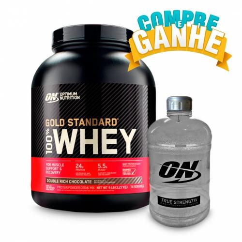 Compre 100% Whey Protein Gold Standard Sabor Chocolate (2.270g) - Optimum Nutrition e Ganhe Galão (1,1 Litros) - Optimum