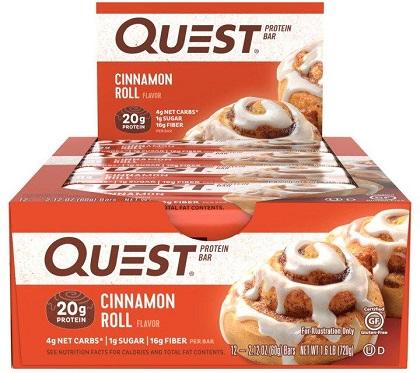 Quest Bar - Protein Bar Sabor Canela (Caixa c/ 12 Unidades de 60g cada) - Quest Nutrtion