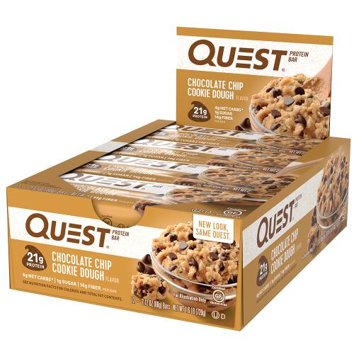Quest Bar - Protein Bar Sabor Chocolate Chip Cookie Dough (Caixa c/ 12 Unidades de 60g cada) - Quest Nutrtion