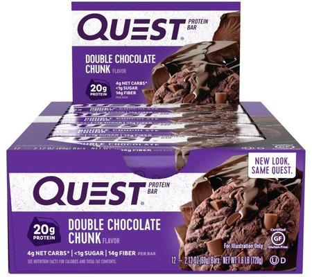 Quest Bar - Protein Bar Sabor Double Chocolate Chunk (Caixa c/ 12 Unidades de 60g cada) - Quest Nutrtion
