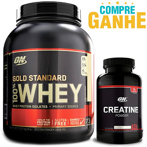 Compre Whey Protein 100% Gold Standard Optimum - Baunilha - 2,270 g e Ganhe Creatina Powder 150G - Black Line - Optimum Nutrition