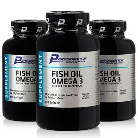 Óleo de Peixe - Fish Oil Ômega 3 Performance Nutrition - 100 Cápsulas (3 Unidades)