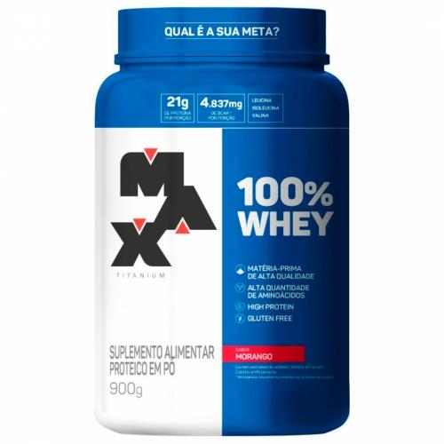100% Whey Sabor Morango (900g) - Max Titanium