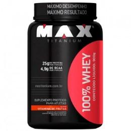 100% Whey - Max Titanium - Morango - 900g