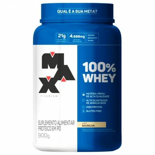 100% Whey Sabor Baunilha (900g) - Max Titanium